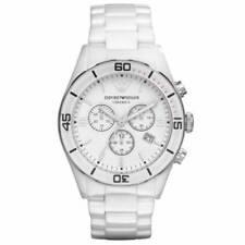 Mens Emporio Armani AR1424 Leo White Ceramica Watch RRP £399