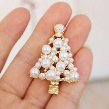Xmas Christmas Gold Pearl Tree Brooch Pin Diamante Rhinestone Lady Gift Jewelry