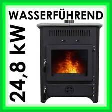 24,8 kW Kamin-Ofen WASSERFÜHREND   Speckstein-Ofen Holz-Kessel Dauerbrand-Ofen