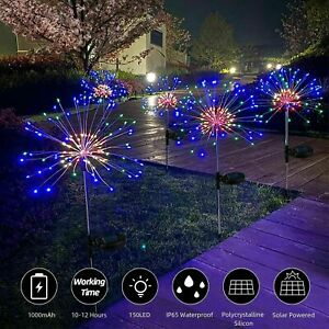 150/120 LED Solar Firework Lights Waterproof Outdoor Path Lawn Garden Lamp Decor