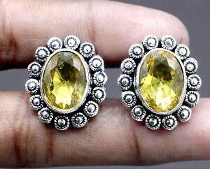 "Handmade 925 Sterling Silver Yellow Citrine Gemstone Jewelry Cuff Links Size-1"""