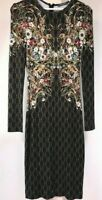 Alexander Mcqueen black green floral print midi dress 42IT 6US Made in Italy