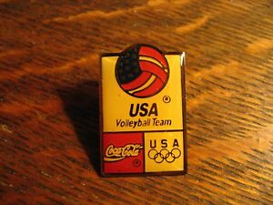 Coca Cola Olympic Games Lapel Pin - Vintage USA Volleyball Team Athlete Sports