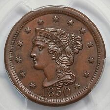 1850 N-5 R-4 PCGS MS 62 Bn Braided Hair Large Cent Coin 1c Ex; Twin Leaf