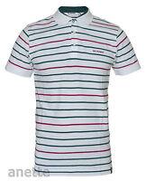 BEN SHERMAN White Striped Mens Polo Shirt Leather Hem Logo Branded Buttons BNWT