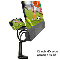 """Mobile Phone HD Projection Bracket 12"""" Screen Magnifier Amplifier with Speaker"""