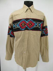 M9503 VTG Men's Wrangler Aztec Print Long-Sleeve Button-Up Wester Shirt Size L