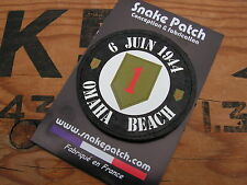"""snake patch """" 6 juin 1944 OMAHA BEACH BIG RED ONE """" US WW2 NORMANDY D DAY JEEP"""