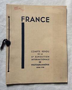 COMPTE-RENDU DE LA 5e EXPOSITION INTERNATIONALE DE PHOTOGRAMMÉTRIE Rome 1938