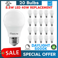 Lot Of 20 Maxlite 5.5w LED Bulb 40 watt replace A19 Daylight 5000K LED Light 40w