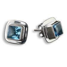 Blautopas Ohrringe Stecker Ohrstecker ECHT 925er Silber Design Schmuck SER201