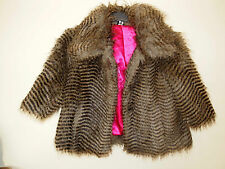 FLORENCE AND FRED STRIPE PARTY FAUX FUR ANIMAL HAIRY WINTER COAT JACKET 8 S