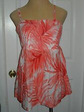 LANE BRYANT 16 Orange Print Smocked Baby Doll Top with Removable Straps 16W