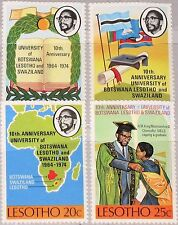 LESOTHO 1974 156-59 10th Ann University Book Map Karte Länder Flags MNH