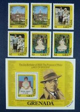 Granada 1982 lady diana príncipe william royalty 1177-82 + bloque 109 post frescos mnh