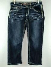 Hydraulic Womens Juniors Jeans Capri Crop Dark Denim 9/10 Stretch Low Rise