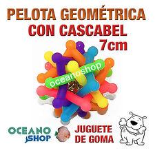 JUGUETE PELOTA PEQUEÑA DE GOMA PERRO FORMA GEOMÉTRICA CON CASCABEL 7cm D20 1001