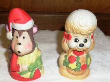 2 Vintage Jasco Bells Monkey Santa & Poodle Dog Christmas Bells/Ceramic/Bisque