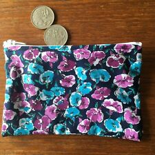 Flowers retro 14 x 6 cmGirls / Ladies Australian Handmade Cotton Coin Pouch