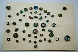 Collection of 50+ Antique Glass Buttons, Black Glass, Painted, Inlay, etc.