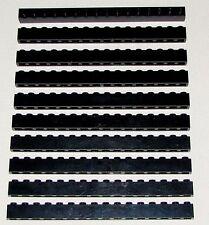 LEGO LOT OF 10 BLACK 1 X 16 DOT BUILDING BLOCKS PIECES