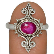 Ruby 925 Sterling Silver Jewelry Ring s.9.5 AR165128 175J