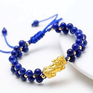 Real 24k Yellow Gold 3D Pixiu + 18k 3mmW Beads + Lapis Lazuli Beads Bracelet