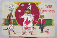 Vintage Antique Easter Postcard Circus Dogs Balancing Eggs 1908