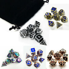 7Pcs/set Shiny Metal Polyhedral Dice DND RPG MTG Role Playing Game + Bag 5Colors
