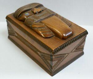 Superb Vintage Maori Tiki Box, Carved Head Mounted On Lid, Paua Shell Eyes