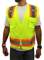 4XL -Surveyor Solid Lime Two Tones Safety Vest , ANSI/ ISEA 107-2015