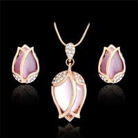 Rhinestone Crystal Flower Pearl Necklace Earring Jewelry Set Wedding Bridal New