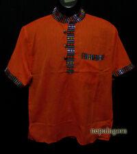 Sh993  XXL Handloom Cotton short sleeve Grandad Hippie Orange Kurta Shirt Nepal