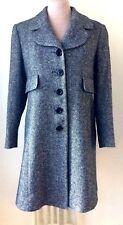 HOBBS Marilyn Anselm sz12 Wool Blend Black/White Tweed Fitted Coat Round Lapels