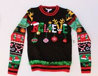 NOBO Ugly Christmas Sweater Juniors XS Believe Black W/ Bells Ornaments & Tinsel