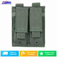 Gray Dual Double Stack Pistol Magazines Pouch MOLLE PALS Adjustable Flaps PVC