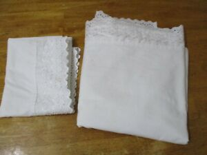 Vintage Dan River EYELET LACE  White queen FLAT Sheet & 1 pillow case