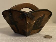 Small Chinese Wooden And Metal Rice Bucket Basket With Handle Vintage / Antique