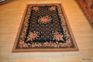 TOP QUALITY 4x6 handmade hand-knotted Oriental FRENCH DESIGN TEAL #PM75