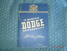 1941 DODGE OWNER'S DEPENDABILITY MANUAL OWNER'S SERVICE POLICY INSERTS