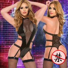 Black Faux Leather Wet Look PVC Jumpsuit Cat Women Catsuit Outfit sex toys 11450