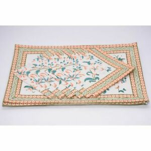 1 of 12 Stylish Floral Dining Place-Mat 100% Cotton Table Mats and Napkins Set