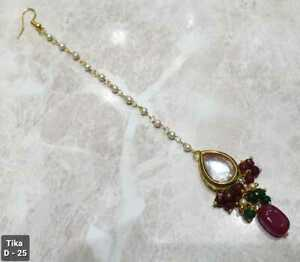 Indian Kundan Gold Plated Bridal Tikka High Quality Bollywood Head Jewelry Multi