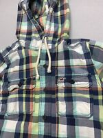 Hollister Mens Medium Multicolored Button Down Hoodie Hooded Jacket Blue White