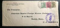 1916 Rangoon Burma India Missionary Cover To Baptist  Mission Boston MA USA