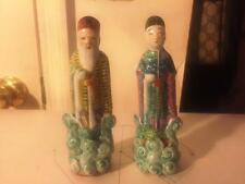 Two Chinese Antique  Hand Painted  Statue Famille Rose