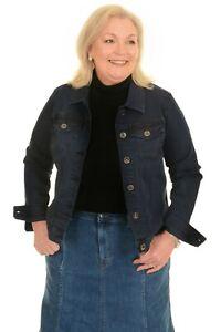 Ladies Women's Stretch Classic Indigo Denim Jacket - Sizes 8 to 18