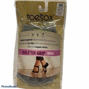 toesox Half Toe Bella with Grip Grey- Lime XS  Pilates Yoga Dance Sock No Slip