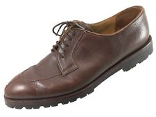 SH26 Barneys New York Sz 12 Brown Pebbled Leather Split Toe Oxford Shoes Italy