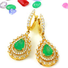 4.80 Carat Natural Emerald 14K Solid Yellow Gold Diamond Earrings